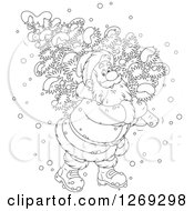 Clipart Of A Cartoon Happy Black And White Santa Claus Carrying A Fresh Cut Christmas Tree In The Snow Royalty Free Vector Illustration