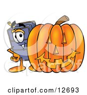 Clipart Picture Of A Suitcase Cartoon Character With A Carved Halloween Pumpkin