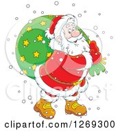 Clipart Of A Cartoon Happy Caucasian Santa Claus Carrying Sack In The Snow Over A Green Circle Royalty Free Vector Illustration