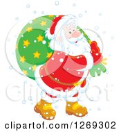 Clipart Of A Happy White Santa Claus Carrying Sack In The Snow Over A Green Circle Royalty Free Vector Illustration
