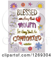 Clipart Of Colorful Sketched ScriptureBlessed Are They That Mourn For They Shall Be Comforted Matthew 5 V 4 Text In A Gray Border Royalty Free Vector Illustration by Prawny