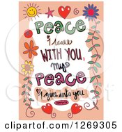 Clipart Of Colorful Sketched ScripturePeace I Leave With You My Peace I Give Unto You John 14 V 27 Text In An Orange Border Royalty Free Vector Illustration by Prawny