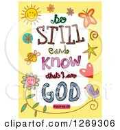 Clipart Of Colorful Sketched ScriptureBe Still And Know That I Am God Psalm 46 V 10 Text In A Yellow Border Royalty Free Vector Illustration by Prawny
