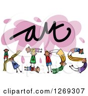 Clipart Of Alphabet Stick Children Forming KIDS Text Under Art Royalty Free Vector Illustration