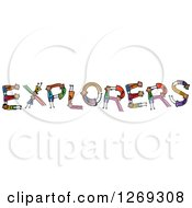 Clipart Of Alphabet Stick Children Forming Explorers Text Royalty Free Vector Illustration