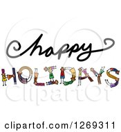 Clipart Of Alphabet Stick Children Forming A Word In Happy Holidays Royalty Free Vector Illustration