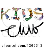 Clipart Of Alphabet Stick Children Forming A Word In Kids Club Royalty Free Vector Illustration