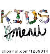 Clipart Of Alphabet Stick Children Forming A Word In Kids Menu Royalty Free Vector Illustration