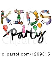 Clipart Of Alphabet Stick Children Forming A Word In Kids Party Royalty Free Vector Illustration