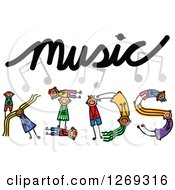 Clipart Of Alphabet Stick Children Forming A Word In Music Kids Royalty Free Vector Illustration