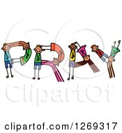 Clipart Of Alphabet Stick Children Forming PRAY Text Royalty Free Vector Illustration