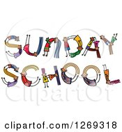 Clipart Of Alphabet Stick Children Forming SUNDAY SCHOOL Text Royalty Free Vector Illustration