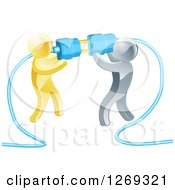 Clipart Of A Team Of 3d Gold And Silver Men Connecting Electrical Plugs Royalty Free Vector Illustration