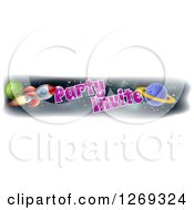 Clipart Of A Rocket And Outer Space Party Invite Banner Design Royalty Free Vector Illustration by AtStockIllustration
