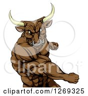 Clipart Of An Aggressive Brown Bull Or Minotaur Mascot Punching Royalty Free Vector Illustration