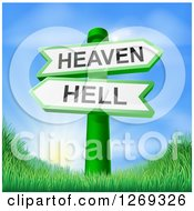 Clipart Of 3d Green Heaven Or Hell Arrow Signs Over Hills And A Sunrise Royalty Free Vector Illustration