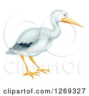 Clipart Of A Cute Stork Bird In Profile Royalty Free Vector Illustration by AtStockIllustration