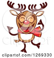 Clipart Of A Happy Dancing Christmas Rudolph Reindeer Royalty Free Vector Illustration by Zooco