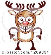 Clipart Of A Grinning Embarrassed Christmas Rudolph Reindeer Royalty Free Vector Illustration by Zooco