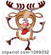 Clipart Of A Goofy Christmas Rudolph Reindeer Making A Funny Face Royalty Free Vector Illustration by Zooco