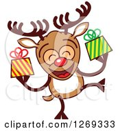 Clipart Of A Happy Christmas Rudolph Reindeer Holding Gifts Royalty Free Vector Illustration by Zooco