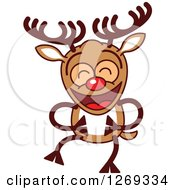 Clipart Of A Laughing Christmas Rudolph Reindeer Royalty Free Vector Illustration by Zooco