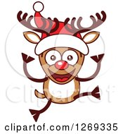 Clipart Of A Happy Christmas Rudolph Reindeer In A Santa Hat Royalty Free Vector Illustration by Zooco