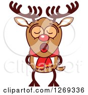 Clipart Of A Christmas Rudolph Reindeer Singing Christmas Carols Royalty Free Vector Illustration by Zooco