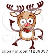 Clipart Of A Friendly Waving Christmas Rudolph Reindeer Royalty Free Vector Illustration by Zooco