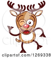 Clipart Of A Winking Christmas Rudolph Reindeer Royalty Free Vector Illustration by Zooco