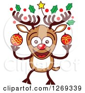 Clipart Of A Happy Christmas Rudolph Reindeer With Decorated Antlers Royalty Free Vector Illustration by Zooco