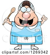 Clipart Of A Cartoon Chubby Creative Caucasian Lunch Lady With An Idea Royalty Free Vector Illustration by Cory Thoman