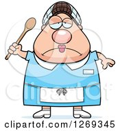 Clipart Of A Cartoon Chubby Depressed Caucasian Lunch Lady Holding A Spoon Royalty Free Vector Illustration by Cory Thoman