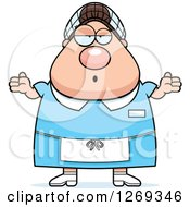 Clipart Of A Cartoon Chubby Careless Shrugging Caucasian Lunch Lady Royalty Free Vector Illustration