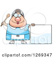 Clipart Of A Cartoon Chubby Happy Caucasian Lunch Lady By A Blank Sign Royalty Free Vector Illustration by Cory Thoman
