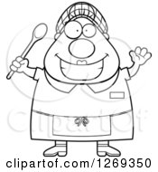 Clipart Of A Black And White Cartoon Chubby Happy Lunch Lady Waving And Holding A Spoon Royalty Free Vector Illustration by Cory Thoman