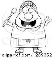 Clipart Of A Black And White Cartoon Chubby Creative Lunch Lady With An Idea Royalty Free Vector Illustration by Cory Thoman