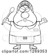 Clipart Of A Black And White Cartoon Chubby Mad Lunch Lady Holding Up A Fist And Spoon Royalty Free Vector Illustration by Cory Thoman
