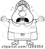 Clipart Of A Black And White Cartoon Chubby Scared Screaming Lunch Lady Royalty Free Vector Illustration by Cory Thoman