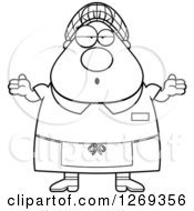Clipart Of A Black And White Cartoon Chubby Careless Shrugging Lunch Lady Royalty Free Vector Illustration by Cory Thoman