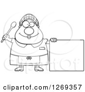 Clipart Of A Black And White Cartoon Chubby Happy Lunch Lady By A Blank Sign Royalty Free Vector Illustration by Cory Thoman