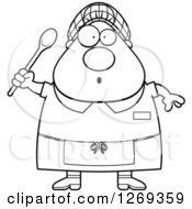 Clipart Of A Black And White Cartoon Chubby Surprised Lunch Lady Holding A Spoon Royalty Free Vector Illustration