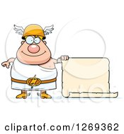 Clipart Of A Cartoon Happy Chubby Greek Olympian God Hermes With A Blank Scroll Sign Royalty Free Vector Illustration