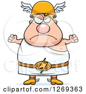 Clipart Of A Cartoon Mad Chubby Greek Olympian God Hermes Waving Fists Royalty Free Vector Illustration