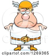 Clipart Of A Cartoon Depressed Chubby Greek Olympian God Hermes Royalty Free Vector Illustration