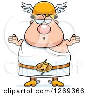 Clipart Of A Cartoon Careless Shrugging Chubby Greek Olympian God Hermes Royalty Free Vector Illustration