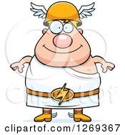 Clipart Of A Cartoon Happy Chubby Greek Olympian God Hermes Royalty Free Vector Illustration