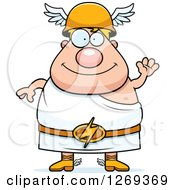 Clipart Of A Cartoon Friendly Waving Chubby Greek Olympian God Hermes Royalty Free Vector Illustration