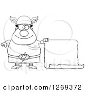 Clipart Of A Black And White Cartoon Happy Chubby Greek Olympian God Hermes With A Scroll Sign Royalty Free Vector Illustration