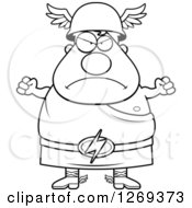 Clipart Of A Black And White Cartoon Angry Chubby Greek Olympian God Hermes Waving Fists Royalty Free Vector Illustration